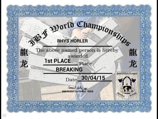 1st Place Board Breaking with Palm Strike at International Breaking Federation World Championships 2015