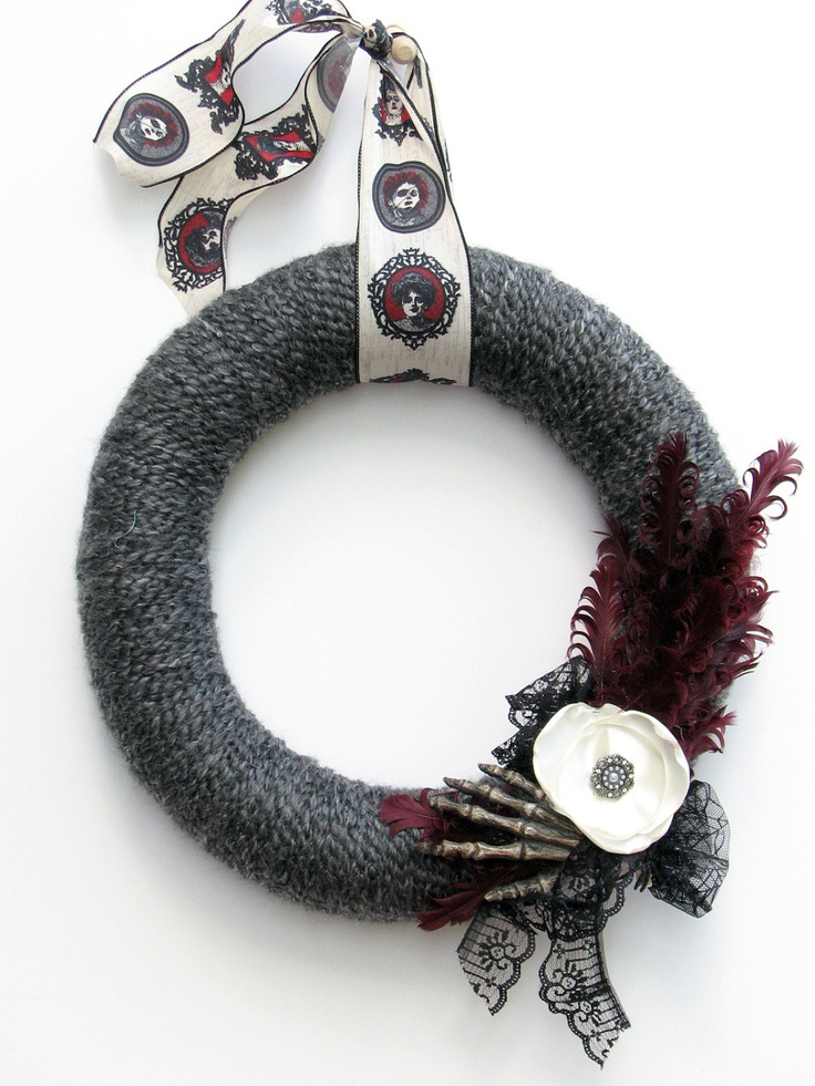 "14"" Charcoal gray Halloween yarn wreath - The Elsa. $39.00, via Etsy. Cool ribbon and nice theme. :) I'm making this, I already have the ribbon and yarn... Going to a hobby Lobby Friday :)"