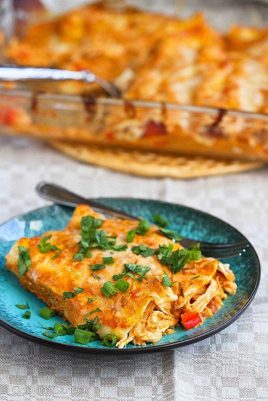 This sauce is killer! Pumpkin & Chicken Enchiladas Recipe | cookincanuck.com #chicken #enchiladas