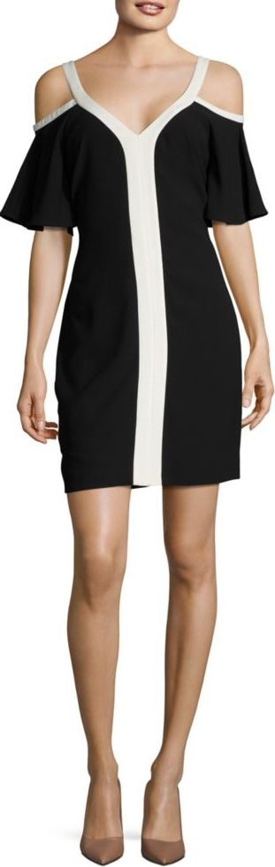 Cynthia Steffe Grace Cold Shoulder Colorblock Dress