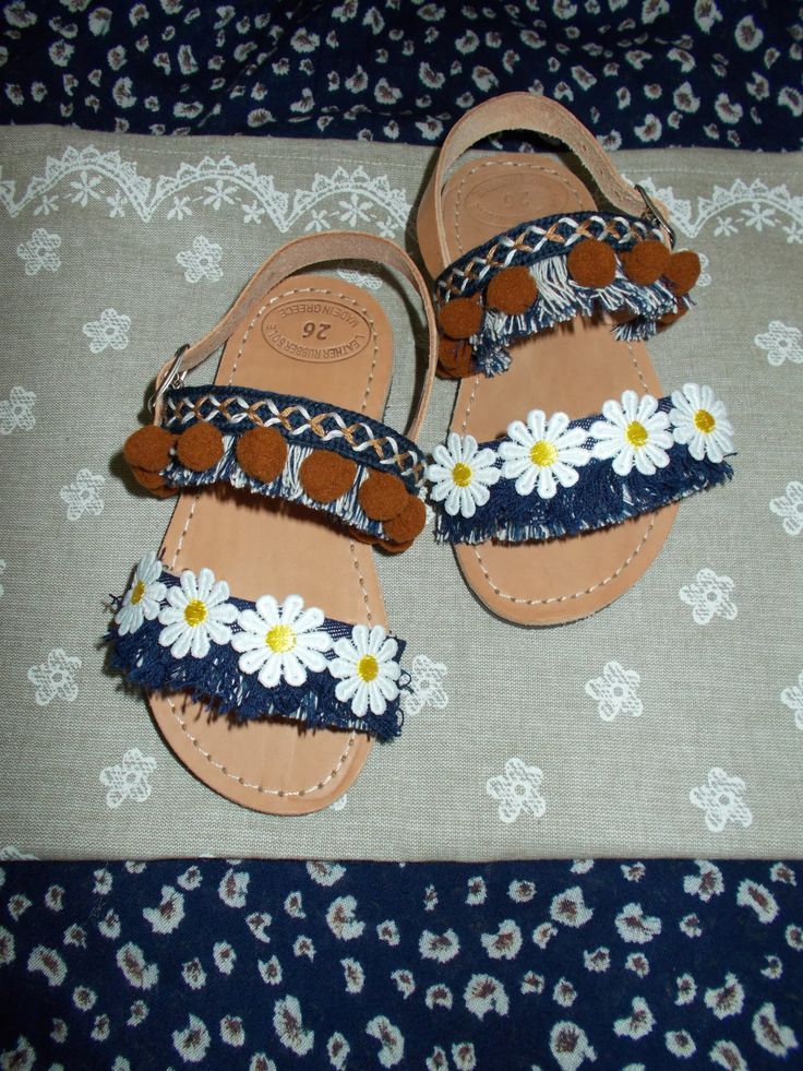 OFFER! Girl's Sandals Denim Brown, Gladiator Strappy Sandals, Children's Sandals, Infant Leather Pompom Boho Sandals with daisies by ENOTIA on Etsy