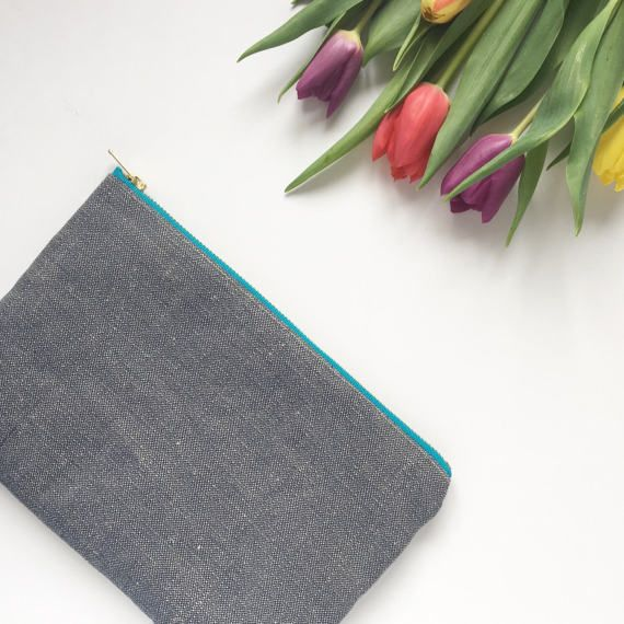 Organic Hemp and Cotton navy clutch bag Little Forest Citron