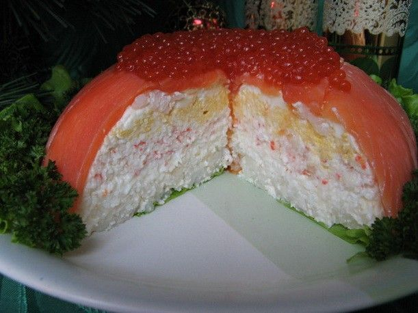 The salad jelly with crab sticks and salted fish.