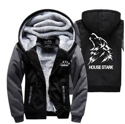 Hot New American Game of Thrones House Stark Hoodie Logo Winter JiaRong Fleece Mens Sweatshirts Free Shipping