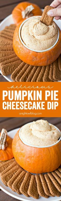 This Pumpkin Pie Cheesecake Dip is a breeze to make and the perfect sweet holiday appetizer! To serve, cut off the top off a pumpkin and insert a large #WorldMarket ramekin. Fill with dip and enjoy! #worldmarkettribe
