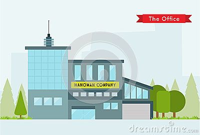 Illustration of office with flat design concept