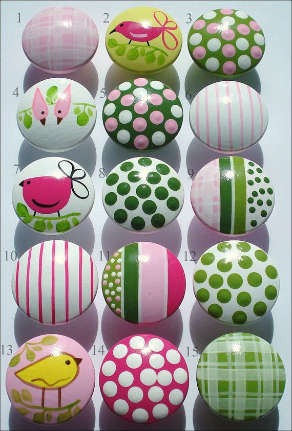 Hand Painted Knob Dresser Drawer Penelope Birds Stripes Polka Dots Gingham