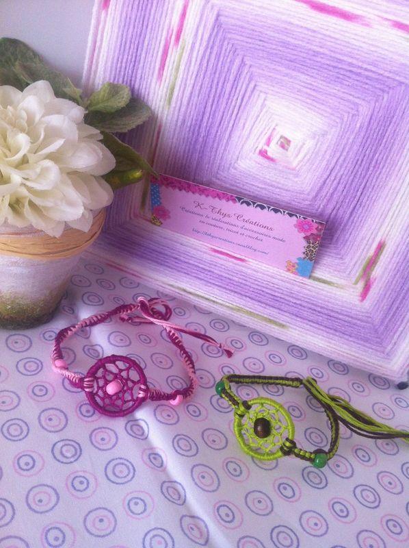 Bracelets et boucles d'oreilles dreamcatcher et macramé
