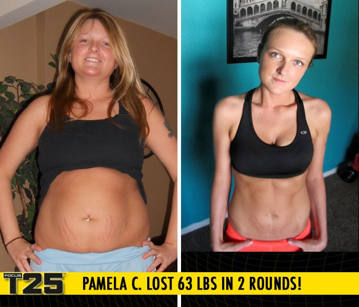 "Pamela C. lost 63 lbs in 2 rounds of Focus T25!    ""I cannot thank T25 enough! I lost more weight than I thought possible. My energy level has skyrocketed; weekends are for outings now instead of sitting in front of a television."""