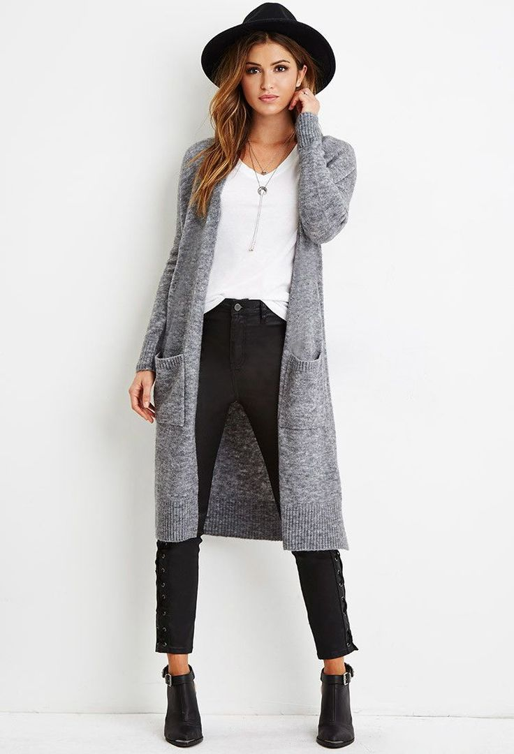 Semi-casual look using just three colors. Long gray cardigan with black pants and boots. The hat adds a nice touch