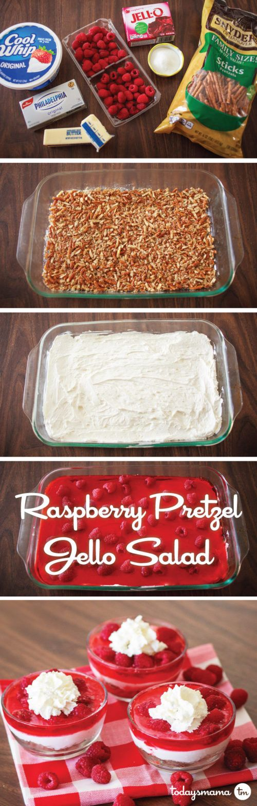Raspberry Pretzel Jello Salad | The most amazing mix of salty, crunchy, creamy, sweet, and fruity that your tastebuds will ever experience. THIS dish is  a holiday hero and will become the best thing on the table at any potluck, BBQ, or family gathering! It's pretty much our favorite of all time.  via @todaysmama