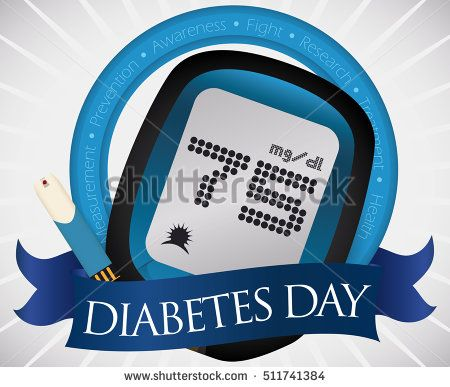 Poster with glucometer and test strip for glucose control commemorating World Diabetes Day decorated with a blue ribbon and circle with values for this date.