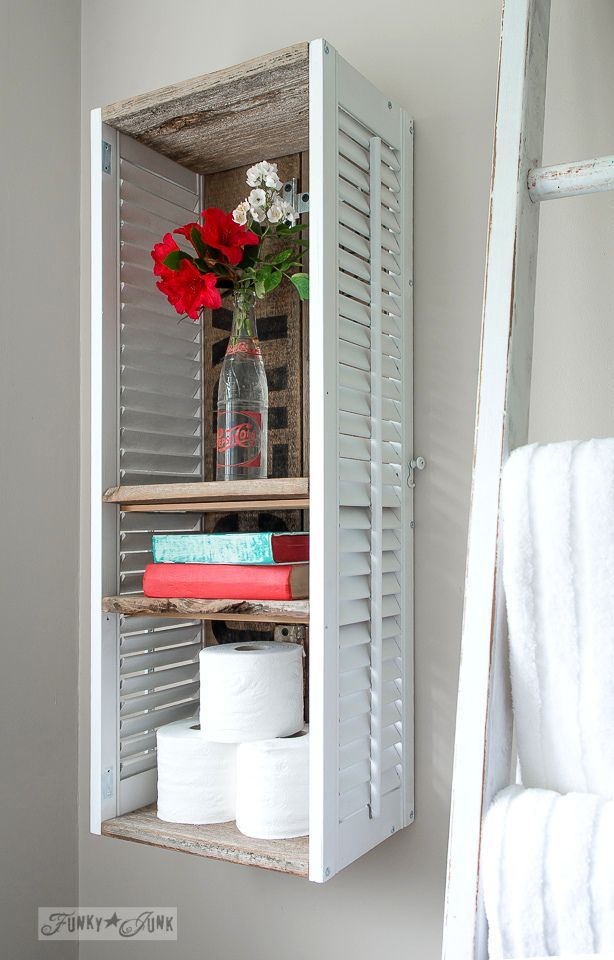 shutter shelf in a bathroom with flowers in a Pepsi Bottle / Funky Junk's 2015 Summer Home Junk Tour / FunkyJunkInteriors.net