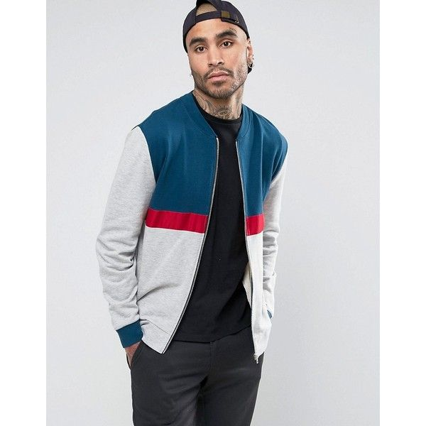 ASOS Jersey Bomber Jacket With Cut & Sew In Grey (135 BRL) ❤ liked on Polyvore featuring men's fashion, men's clothing, men's outerwear, men's jackets, grey, mens grey jacket, mens grey bomber jacket, mens cotton jacket, mens cotton bomber jacket and mens fitted jacket