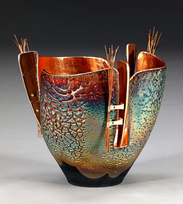 "Ceramics, Marc Jenesel, Artist, GlowPot, 7.5""h x 8"" dia., copper sand Raku, copper, walnut, mica"