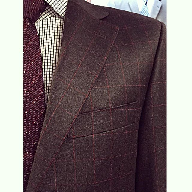 New made-to-measure suit for a customer in Wellington by Tim.  Cloth is Dormeuil Ice in a tidy burgundy check wool/cashmere blend.  #tailored #madetomeasure #suit #bespoke
