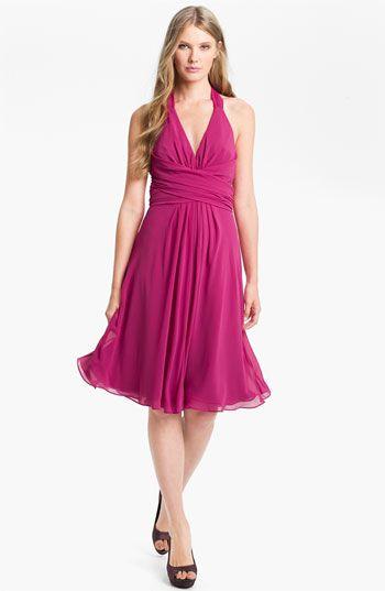 Donna Ricco V-Neck Chiffon Halter Dress available at #Nordstrom