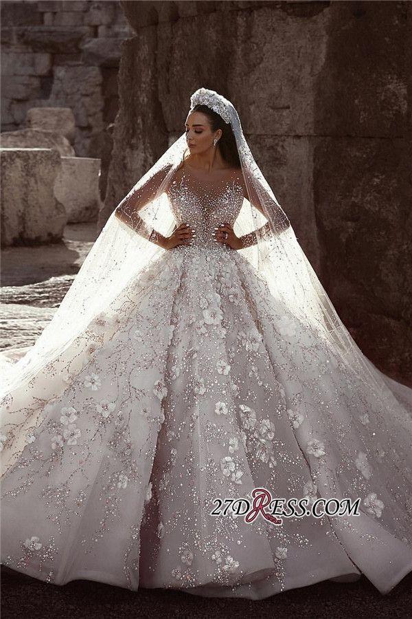 Luxuriöse Langarm Brautkleider | Ballkleid Blumen…
