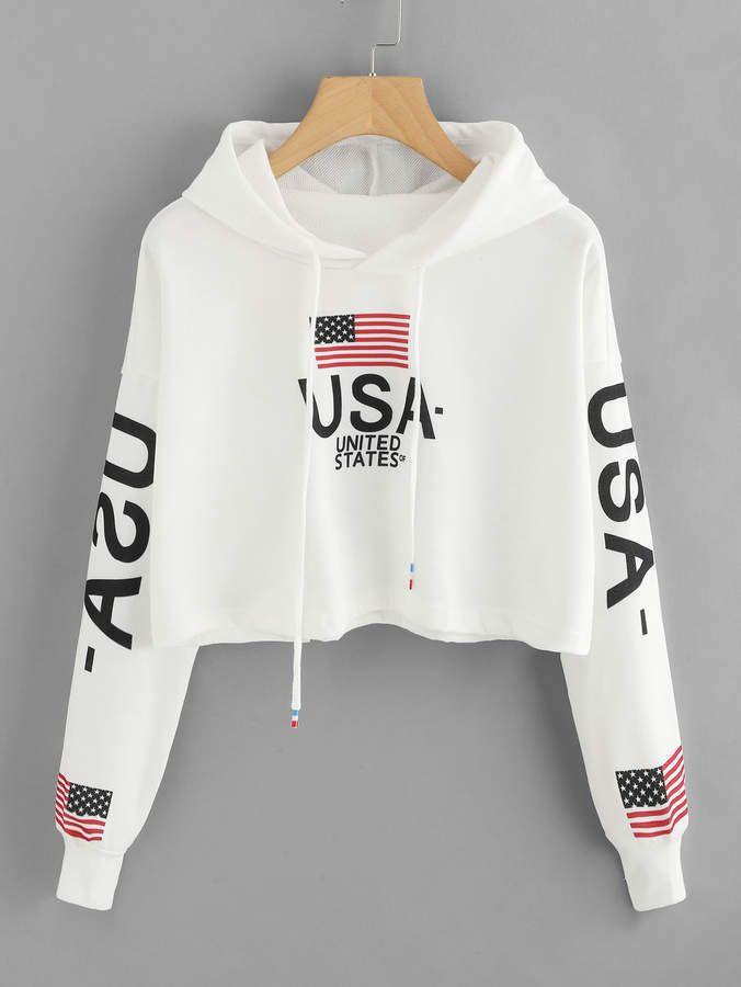 Drop Shoulder American Flag Print Hoodie Shopstyle Shopthislook