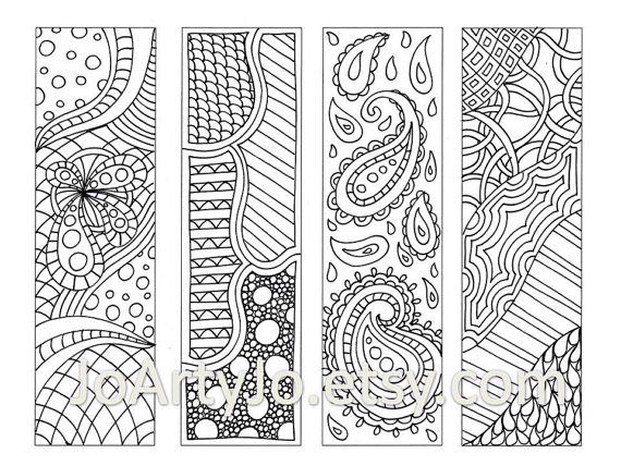 Printable Bookmarks Zentangle Inspired Coloring Page por JoArtyJo