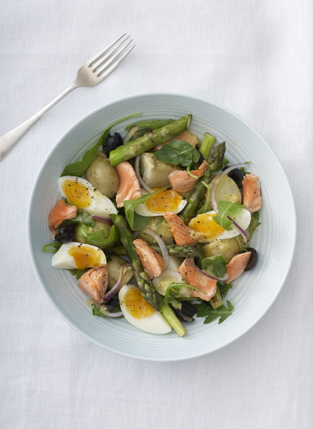 Perfect bank holiday weekend food. Sea Trout and Asparagus Nicoise Salad. Photographed by Thomas Baker Photography. www.eatdrinklovefood.co.uk.