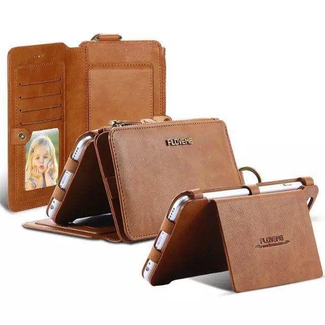 Floveme Retro PU Leather Magnetic Detachable Wallet Kickstand Case For iPhone 6/…