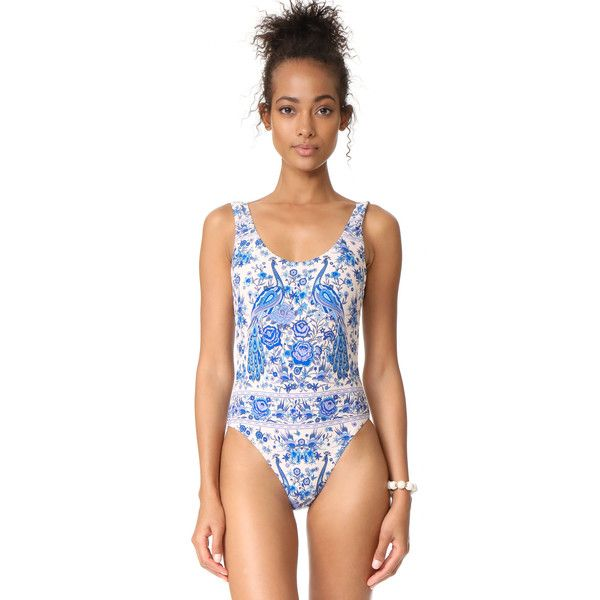 SPELL Hotel Paradiso Swimsuit ($139) ❤ liked on Polyvore featuring swimwear, one-piece swimsuits, seashell swimsuit, swim suits, swimming costume, seashell bathing suit and peacocks swimwear