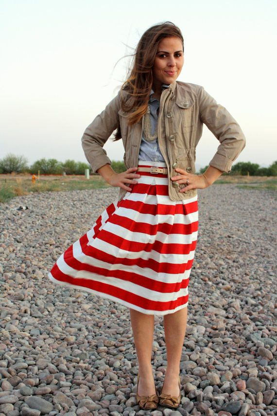 Red And White Striped Skirt 82