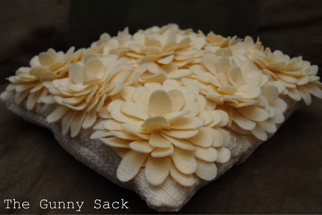 Tutorial Tuesday: Knockoff Delancey Felt Petal Pillow from Horchow - The Gunny Sack
