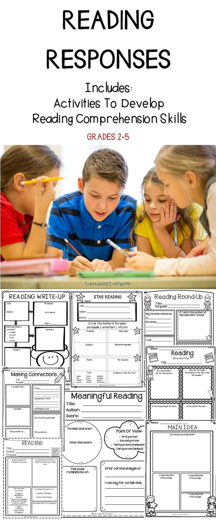 READING COMPREHENSION - These reading responses are a great tool to help students improve and develop their comprehension skills.