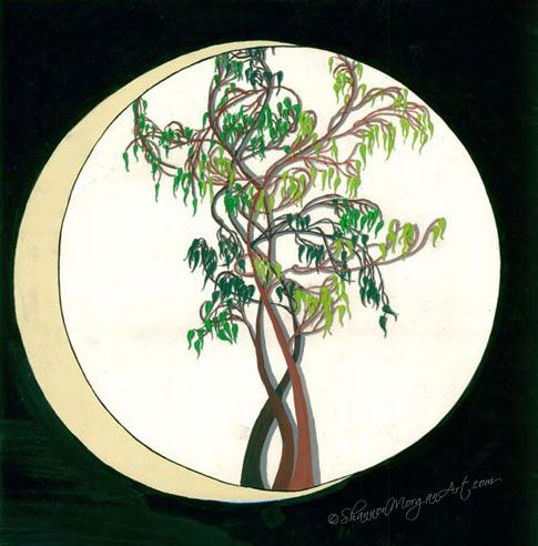 #art 078 Bonsai Moon - Black Circle with Tree, bonsai style, slice of moon on left, grey/green/black (18 1/4×18 1/4 original) Media: Paint on Poster Price: $1000 CAD; (18 1/4×18 1/4 print) Price: $350 CAD  http://shannonmorganart.com/fantasy-illustration/078-bonsai-moon/