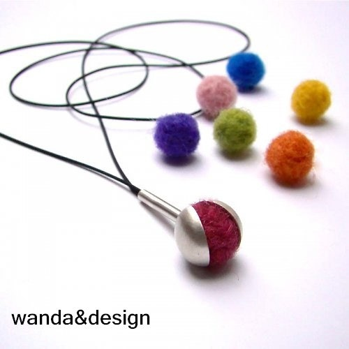 Silver pendant necklace with removable felt balls by wandadesign, €60.00