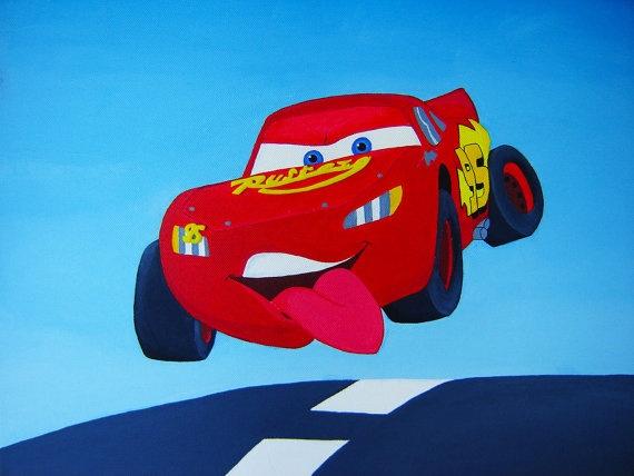 Lightning McQueen Acrylic Painting, 20''x16''