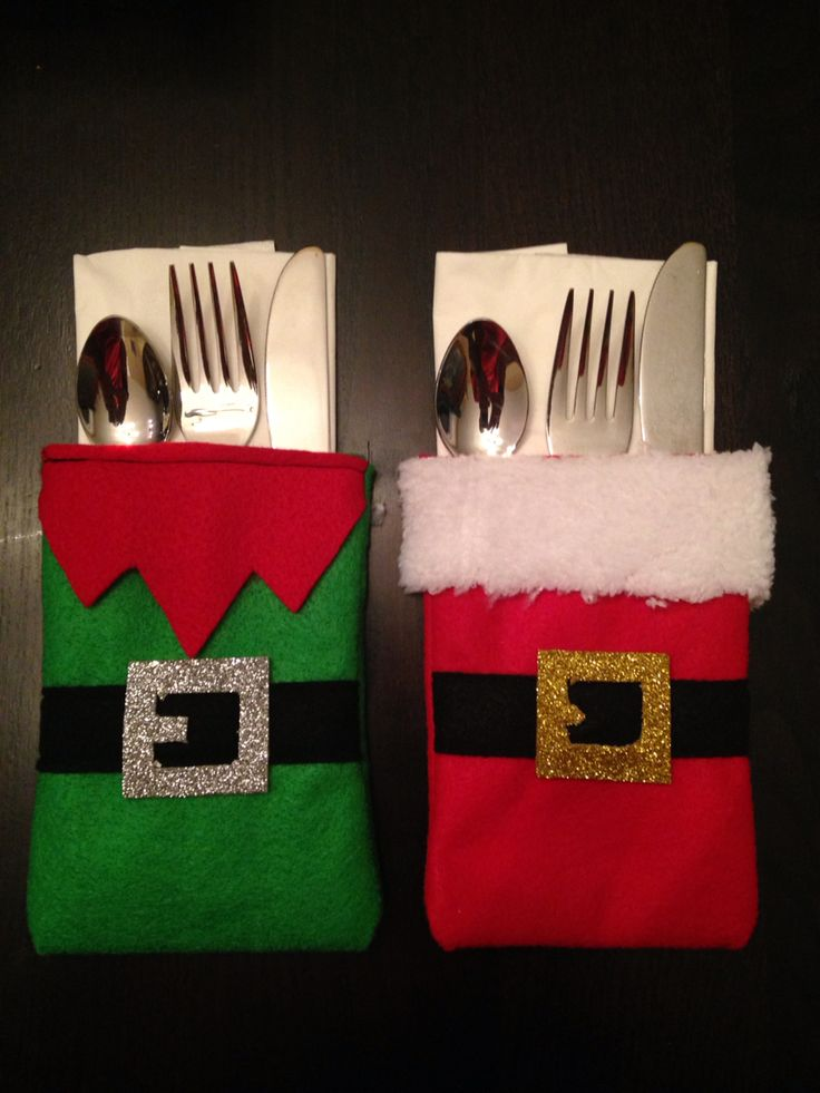 Christmas cutlery holder!  Santa and elf for the table!!