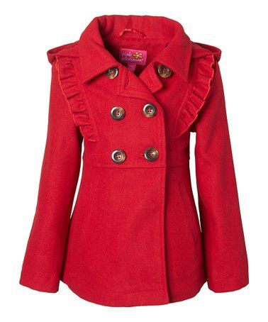 27a29b2e5ebe Another great find on  zulily! Red Ruffle Peacoat - Infant
