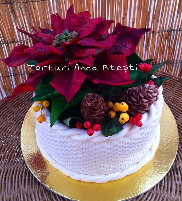 Christmas Cake Poinsettia