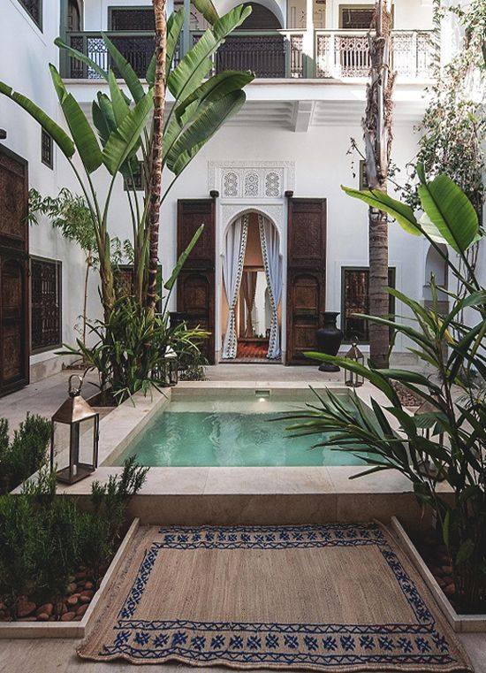 The interior courtyard of the Riad Jaaneman in Marrakech, Morocco personifies bohemian elegance.