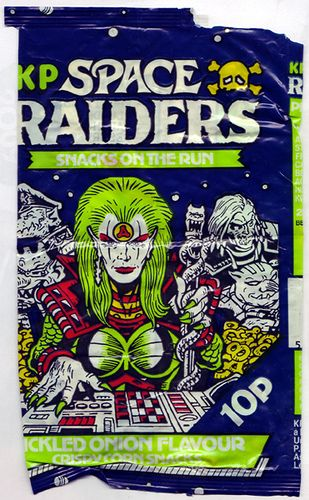 KP Space Raiders Pickled Onion Crisps 1988 by 205gti306gti, via Flickr. The skull and crossbones at the top indicates that these are really cool crisps to eat