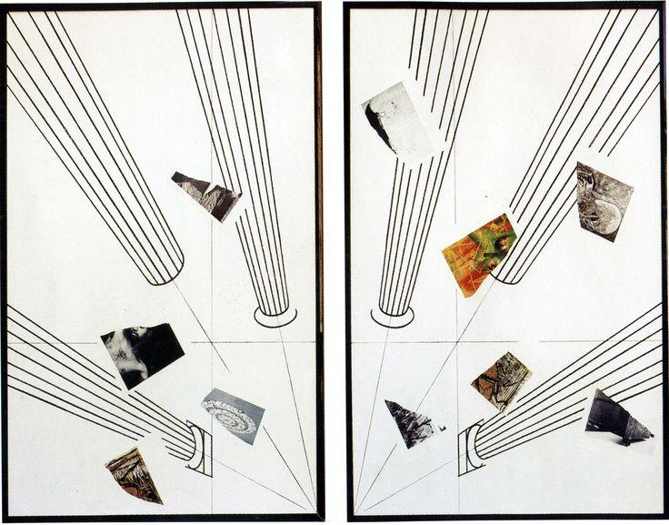 Giulio Paolini - senza titolo-  Sulle grandi superfici bianche l'artista traccia elementi della tradizione classica: colonne, viste dal basso e tendenti verso un punto di fuga angolare, intercalate da ritagli fotografici, il lavoro si espande nello spazio, inteso non come luogo altro, diviso, ma come spazio dell'opera stessa che nel suo manifestarsi lo istituisce.