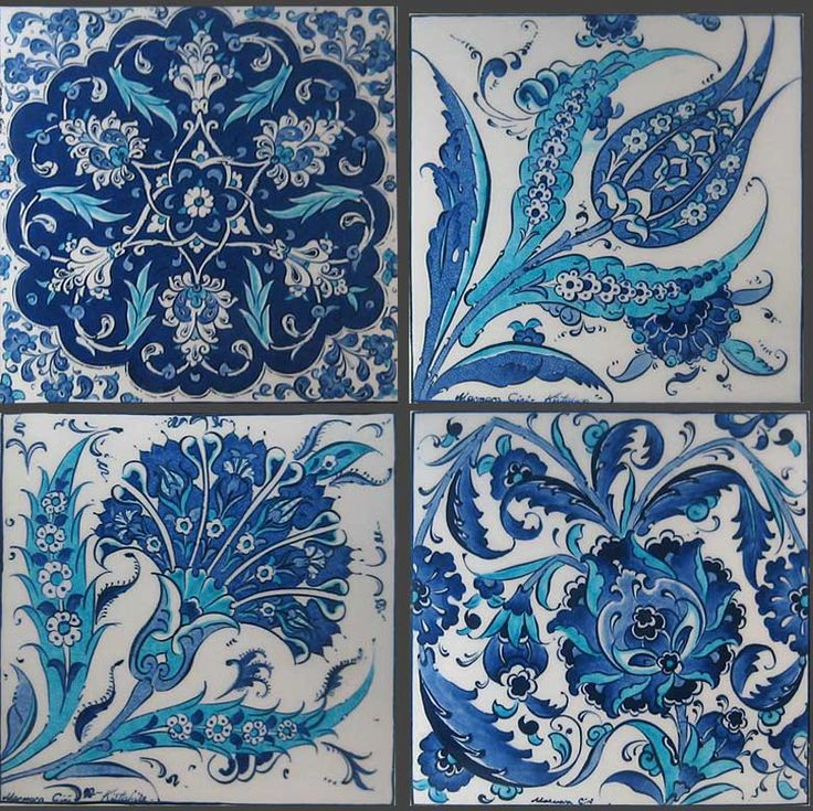 carreaux fleursTurkish Art and Design part of the larger tradition of the Islamic ceramic art. [Floral (hatayi) designs]