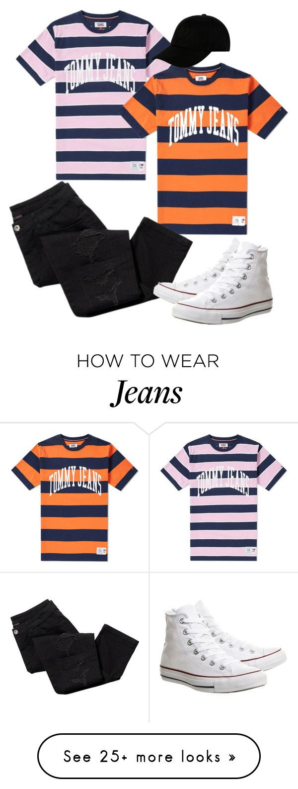 """""""Tommy Jeans T's"""" by sweetyincago on Polyvore featuring Tommy Hilfiger, Avon, Converse and STONE ISLAND"""