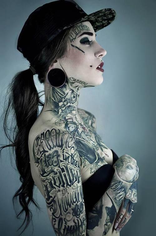 tatttoed girls tattoo tattoos snapback gauge flesh tunnel sleeves