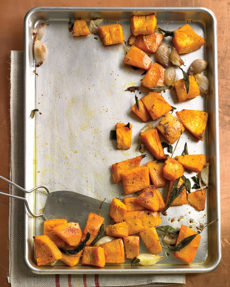 Roasted Pumpkin with Shallots and Sage | Martha Stewart Living - Sugar pumpkins (also known as pie pumpkins) have sweet, tender flesh that's especially good for cooking.