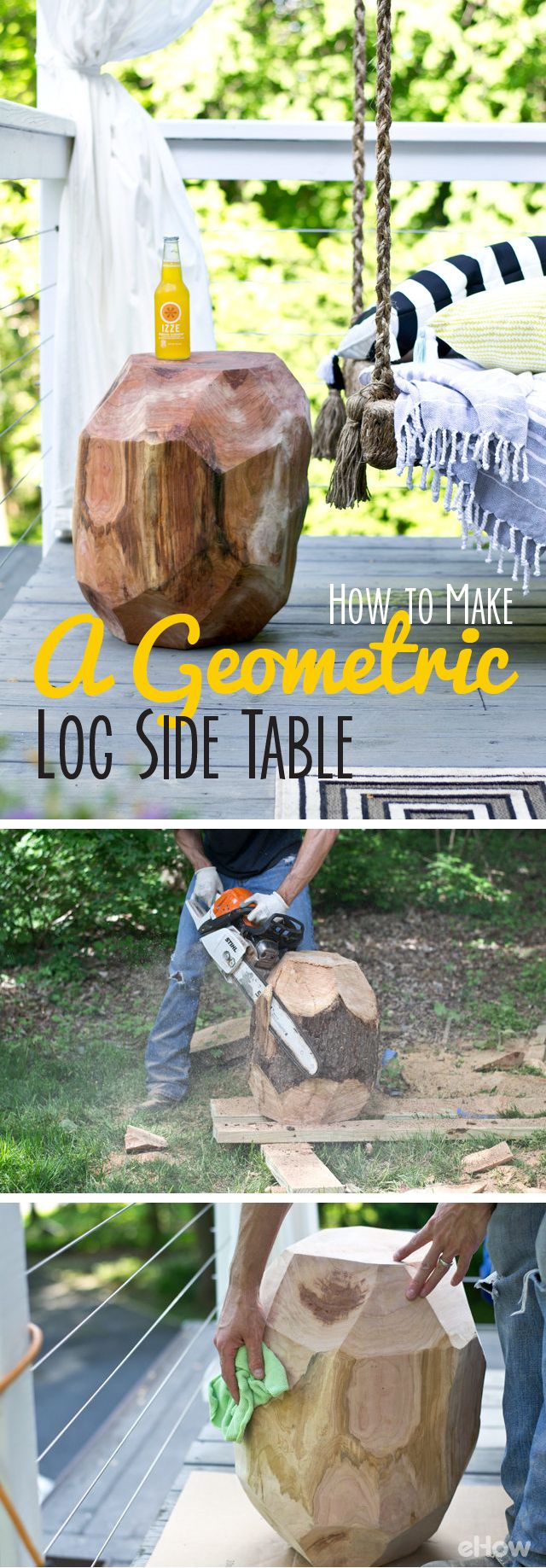 This geometric log side table is so beautiful and perfect for that rustic look on your patio or in your home! It's so much fun to make because you're using a free-form pattern, meaning it doesn't require precision or symmetry! DIY instructions here: http://www.ehow.com/how_12340608_make-geometric-log-side-table-patio.html?utm_source=pinterest.com&utm_medium=referral&utm_content=freestyle&utm_campaign=fanpage