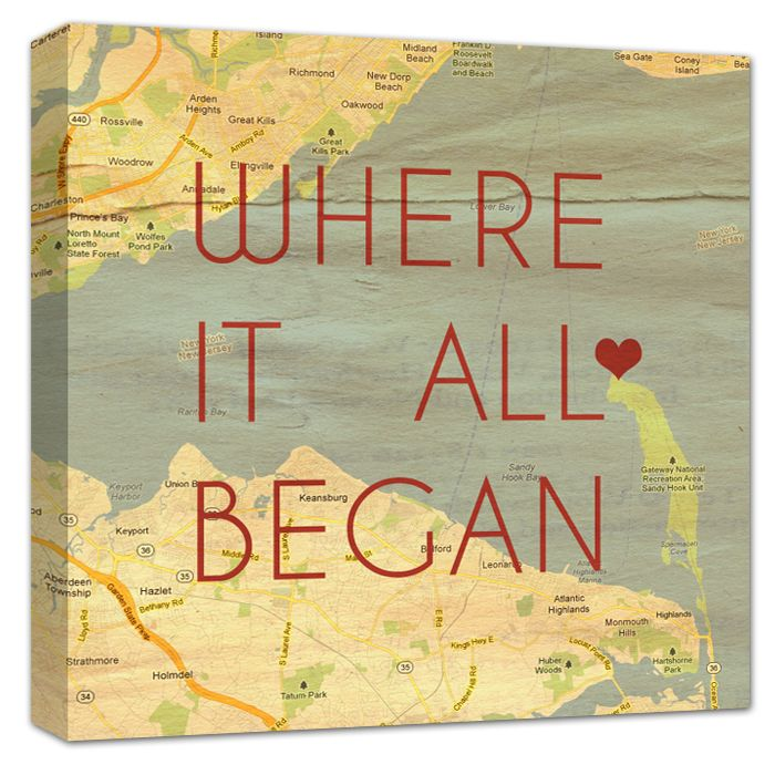 "With just the address of YOUR ""special"" location, we will create a one of a kind Custom Map Canvas for you. Using any wording over your custom canvas map art and a HEART to mark your location. Where it all Began, Home is Where the Heart is, Names and Date, Love at First Sight"