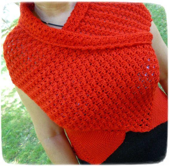 NEW Vest cross red crocheted. wool.  vest red