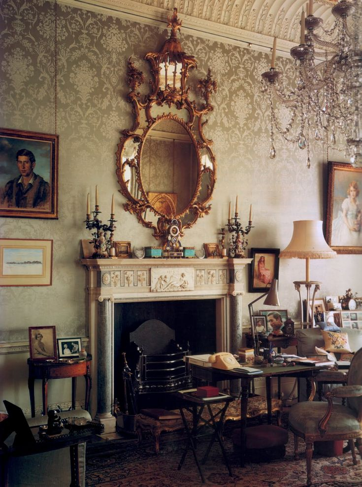 Clarence House, London home of Prince Charles.  I like the idea of doing a light stencil on an accent wall.