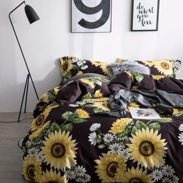 Online Shop Sunflower Bedding Set Luxury Bed Linen Set Luxury