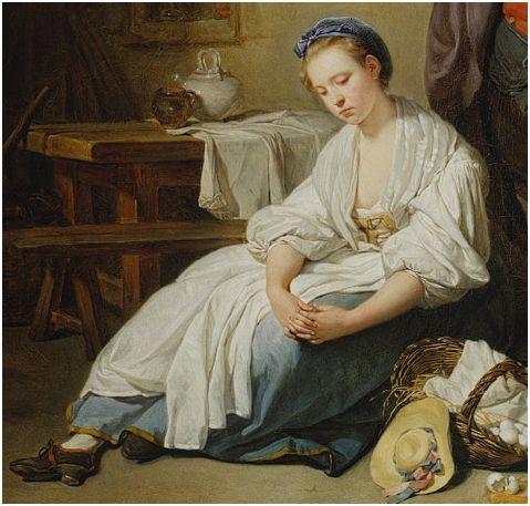 "Detail of ""Broken Eggs"" by Jean-Baptiste Greuze, 1756.  Women -- Clothing & dress -- 1700-1799 -- France.  18th century, French. She is wearing a white chemise with very full sleeves, beige stays, a white neckerchief, a blue petticoat (skirt) with yellow binding at the hem, long white apron, black leather shoes with laces, and a blue cap."