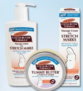 Palmer's Cocoa Butter Stretch Mark Care- I used this stuff during my 1st pregnancy and it worked well for me, but I think it's a little bit greasy. I still use their regular body lotion everyday. Nice smell!